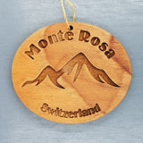 Monte Rosa Ornament Handmade Wood Ornament Switzerland Souvenir Mountain Monterosa Ski Resort
