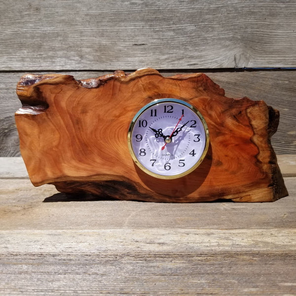 Wood Clock Desk, Office, Mantel Redwood Burl Birthday Gift, Engagement Gift, Handmade Gift for Men, Gift For Her #149