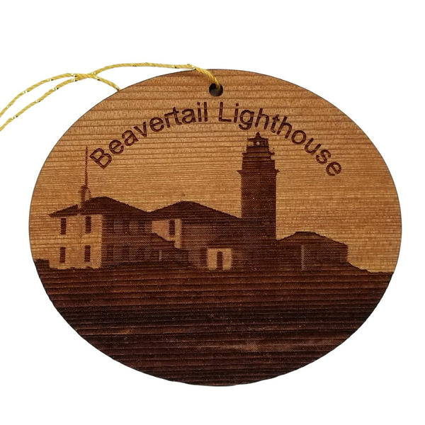 Beavertail Lighthouse Ornament Handmade Wood Jamestown Rhode Island Souvenir
