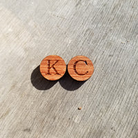 CUSTOM ORDER Cufflinks Replacement Pair KC for Tyler - California Redwood Initials - Silver Tone