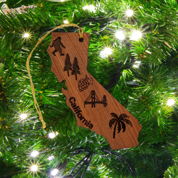 California State Shape Christmas Ornament Collage Bigfoot Golden Gate Bridge Trees Laser Cut Handmade Wood Ornament Made in USA