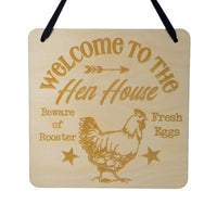 "Farmhouse Sign - Welcome to the Hen House - Rustic Decor - Hanging Wall Wood Plaque - 5.5"" Beware of Rooster Fresh Eggs"