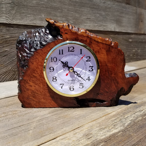 Redwood Burl Wood Clock Mantle Desk Office Gifts for Men Sitting Wood Birdseye Table Shelf #143
