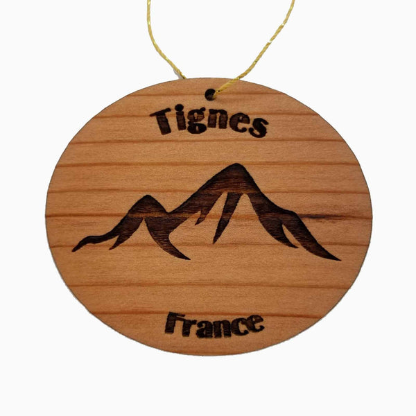 Tignes France Ornament Handmade Wood Ornament Tignes Souvenir Mountain Ski Resort
