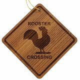 Rooster Crossing Ornament - Rooster Ornament - Wood Ornament Handmade in USA