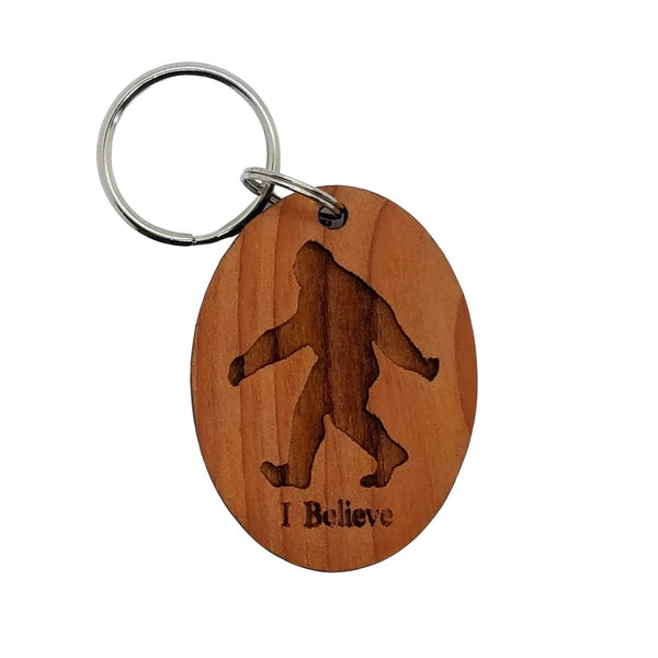 Bigfoot I Believe Wood Keychain Sasquatch Redwood - Bigfoot Believer Gift