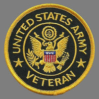 "United States Army Veteran Patch Iron On United States Veteran Military Patch Black Circle Yellow Border 3"" Yellow Eagle Country Pride"