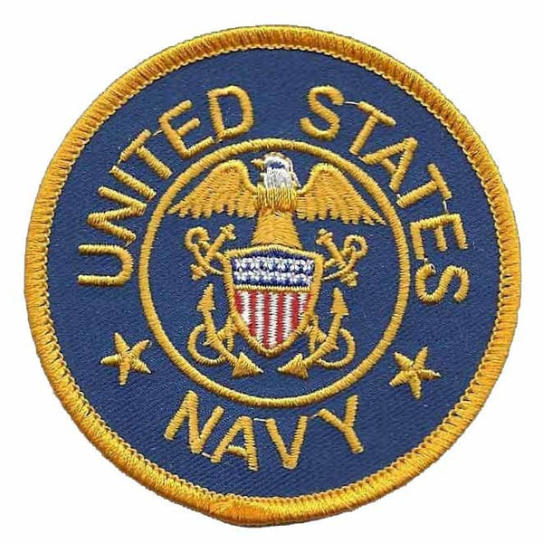 "US Navy Patch Iron On Country Pride Patch US Military Patch Blue Circle Yellow Border 3"" Eagle"