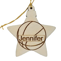 Basketball Wood Ornament - Basketball Player Gift - Personalized Ornament - Star Shape