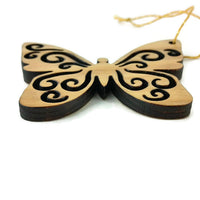 Butterfly Christmas Ornament White Wood Handmade USA