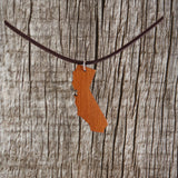 California State Necklace - Wood Necklace - California Redwood