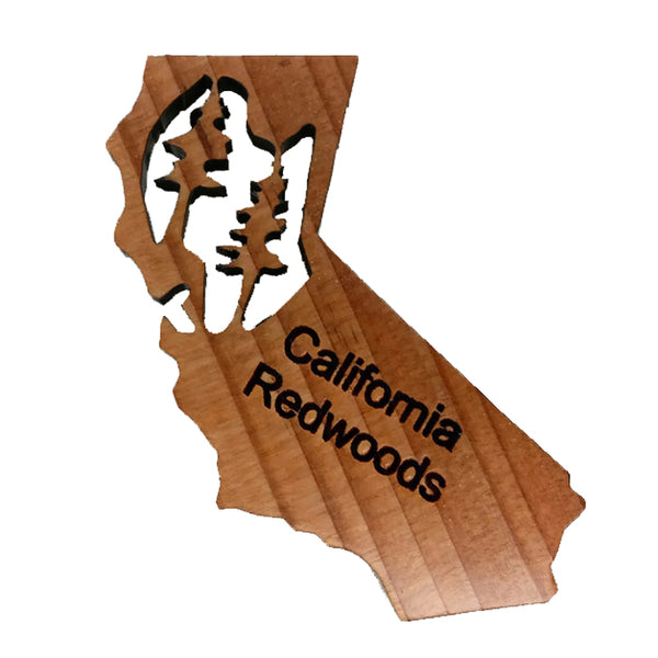 California State Shaped Redwood Refrigerator Magnet Made in USA
