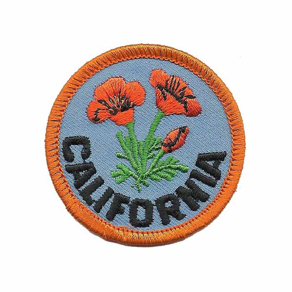 California Poppy State Flower Patch Iron On 2""