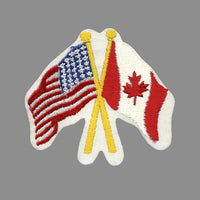 USA and Canada Flags Iron On Patch Crossed Flags