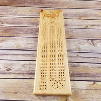 Deer Buck Wood Cribbage Board Handmade 3 Player #274