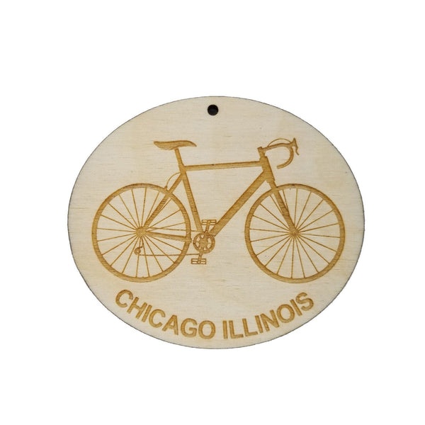 Chicago Illinois Wood Ornament - Mens Bike or Bicycle - Handmade Wood Ornament Made in USA Christmas Decor Windy City