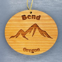 Bend Oregon Ornament Handmade Wood Ornament OR Souvenir Mountains Ski Resort Skiing Skier Cascades