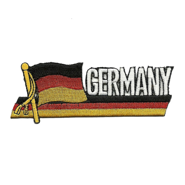 Germany Flag Iron On Patch - Wavy Ribbon - Country Pride
