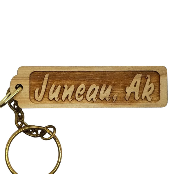 Juneau Alaska Wood Keychain Rectangle Souvenir Travel Gift - Wood Gift Key Ring