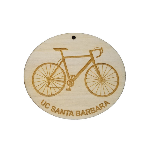 Santa Barbara Wood Ornament - UC Santa Barbara Mens Bike or Bicycle - Handmade Wood Ornament Made in USA Christmas Decor