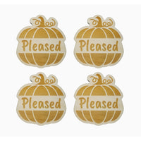 Thanksgiving Place Card Set of 4 - Thanksgiving Place Setting - Thanksgiving Table Decor - Pleased Pumpkin Place Holder