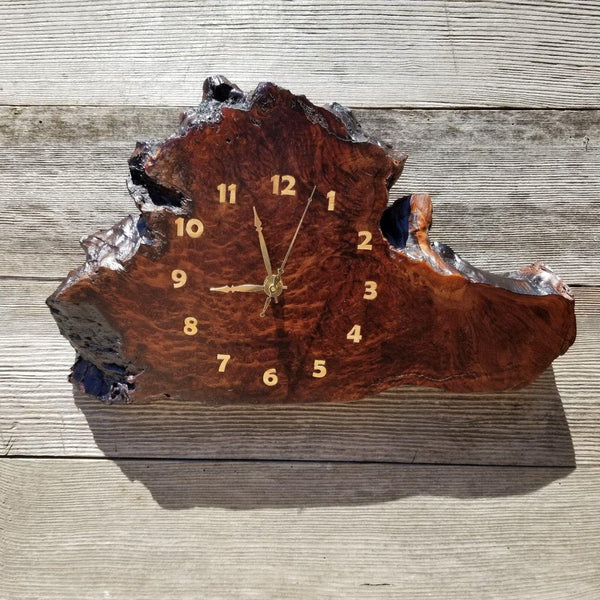 Redwood Clock Handmade Wall Hanging Rustic Wedding Gift Burl Live Edge #173 Mini