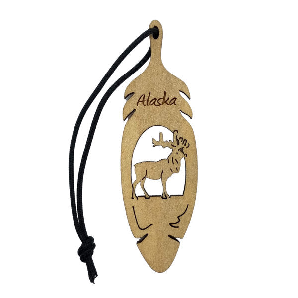 Elk Alaska Christmas Ornament Wood Laser Cut Handmade in USA Travel Gift Souvenir Memento Leaf Acorn 3.5""
