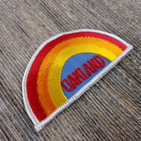 Oakland Iron On Patch - Rainbow White Border California