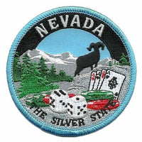 Nevada Patch - The Silver State - Travel Patch Iron On - NV Souvenir Patch - Embellishment Applique - Gambling Patch 3""