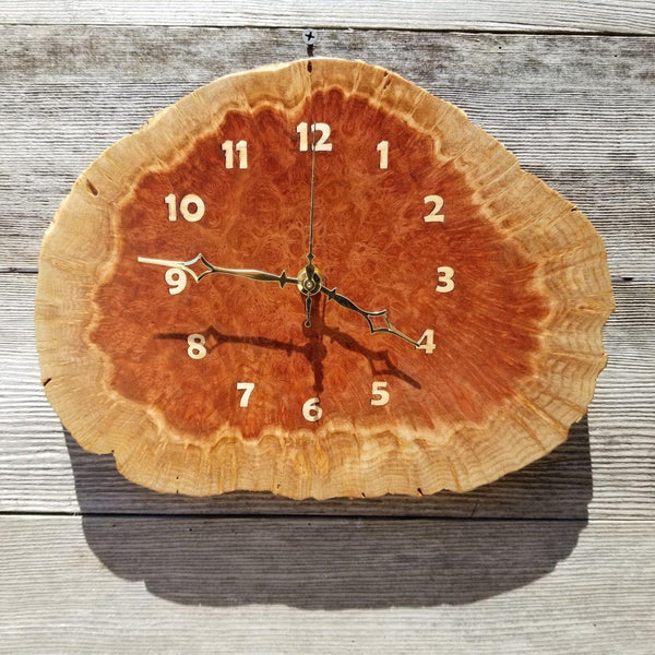 Wood Wall Clock Redwood Clock Mini Handmade Wall Hanging Rustic Wedding Gift Burl Live Edge #174 Anniversary