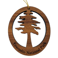 Yosemite Redwood Ornament Redwood Tree - Oval Yosemite National Park California Redwoods - Laser Cut Handmade Wood Ornament - Made in USA
