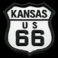 Kansas Patch - Route 66 Patch – Iron On US Road Sign – Travel Patch 2.5""