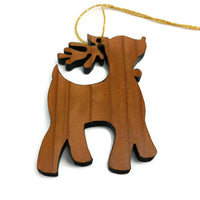 Wood Christmas Ornament Reindeer with Bell California Redwoods Laser Cut Handmade Wood Ornament Made in USA