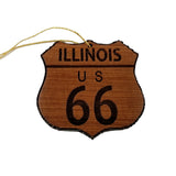 Route 66 Ornament - Illinois - Christmas Road Sign Wood
