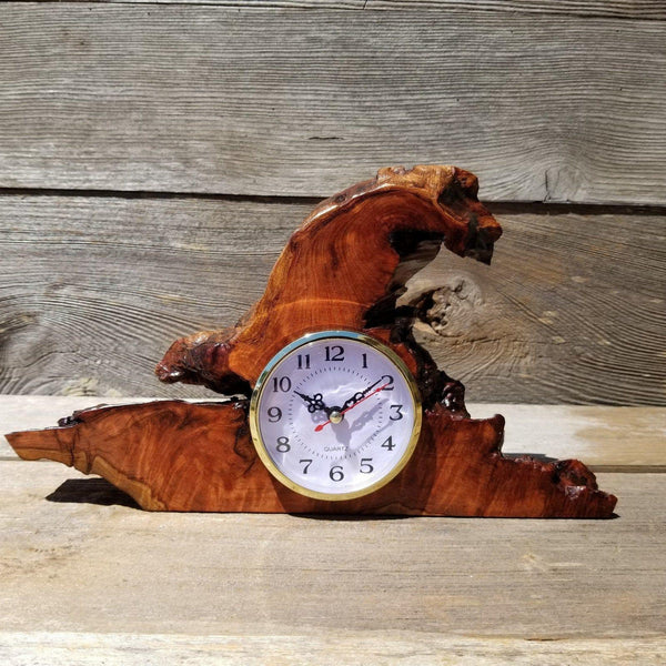 Wood Desk Clock Handmade California Redwood Burl Table Shelf Birthday Gift Wedding Gift Engagement Gift Housewarming Gift #181