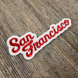 San Francisco Patch - Script Cursive Font - Red and White