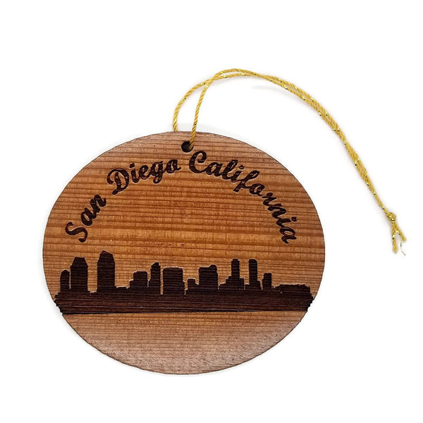 San Diego California Skyline Christmas Ornament California Redwood Laser Cut Handmade Wood Ornament Made in USA