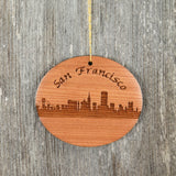 San Francisco Skyline Christmas Ornament Wood Souvenir Redwood Memento