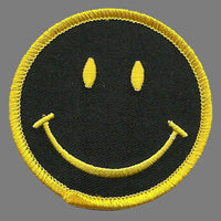 Smiley Face Iron On Patch - Smile Yellow on Black