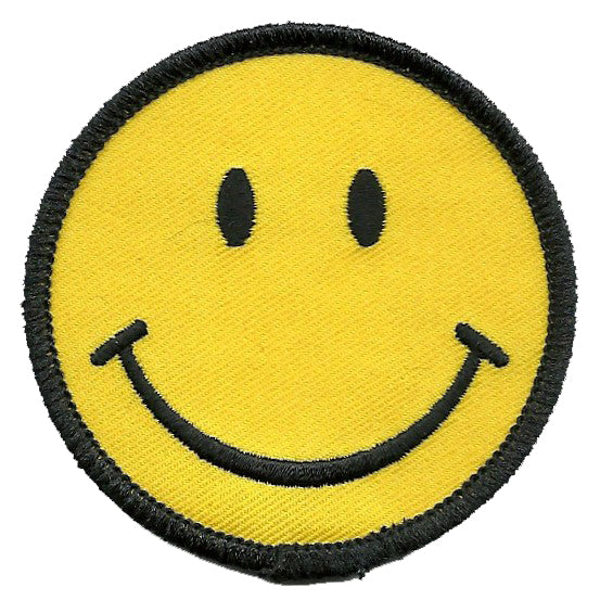 Smiley Face Iron On Patch - Smile Black on Yellow