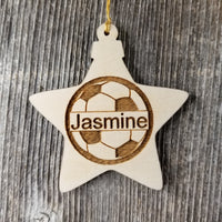 Soccer Ball Wood Ornament - Soccer Player Gift - Personalized Ornament - Star Shape