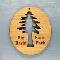 Big Basin State Park Wood Christmas Ornament Redwood Tree Oval Laser Cut Handmade Wood Ornament Cutout