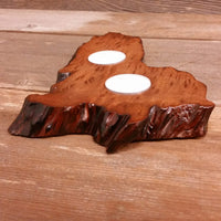 Redwood Candle Holder 2 Tealight Wood Rustic Home Decor Handmade Wood Gift #2