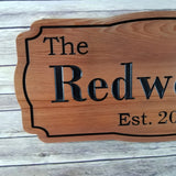Family Name Custom Sign Est with Date Carved Sign Handmade Last Name Personalized California Redwood
