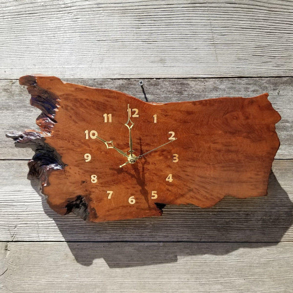 Redwood Clock Handmade Wall Hanging Rustic Wedding Gift Burl Live Edge #180 Mini Wall Clock 5th Anniversary Gift