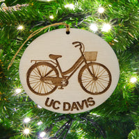 UC Davis Wood Ornament - Womens Bicycle with Basket and Bike Rack