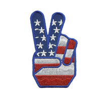 Fingers Peace Sign Iron on Patch USA Flag