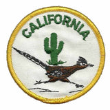 California Roadrunner with Cactus Iron on Circle Patch 3″ Yellow Border Souvenir
