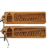 Redwood Trees Grove Wood Keychain Rectangle California Redwood Keyring