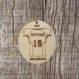 Football Wood Ornament, Custom Football Jersey and Ball Football Player Gift Personalized Made in USA